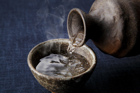 sake: Sake caliente japonés Foto de archivo