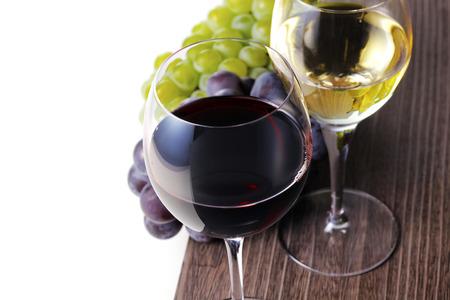 Rode wijn en witte wijn afbeelding Stockfoto
