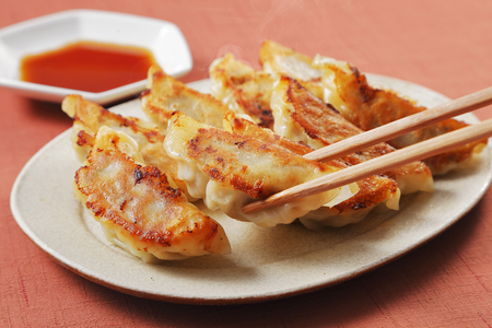 Gyoza grilled dumplings Stock Photo