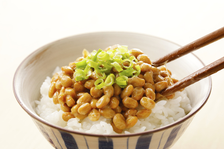 Natto Japanese fermented soybeans 版權商用圖片