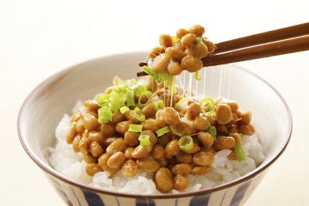 Natto Japanese fermented soybeans Stock Photo