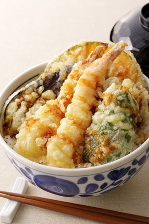 Japanese Tendon. Bowl of rice and fried fish Stock Photo