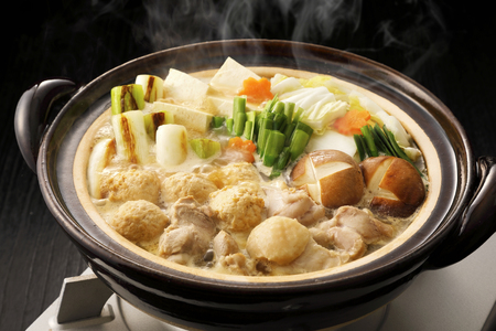 Japanese chicken hot pot 스톡 콘텐츠