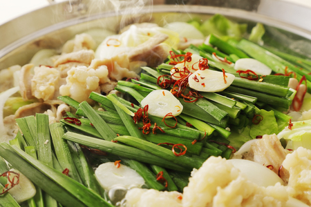Motsunabe. Giblets cooked in a hot pot Japanese food