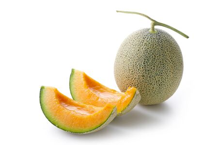 Cantaloupe melons on white