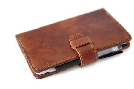 Handplanted brown cowhide diary