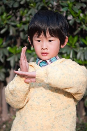 Chinese kung fu boy gestures with actions Standard-Bild