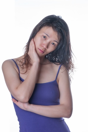 Hübsche Frauen in Haushalt gekleidet zu nehmen, das Porträt Standard-Bild