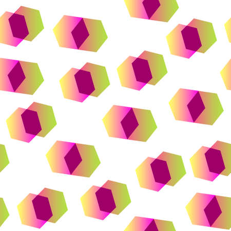 Abstract geometric shapes on a light background for textiles. Seamless pattern, Dynamic composition of hexagons with gradient coloring.