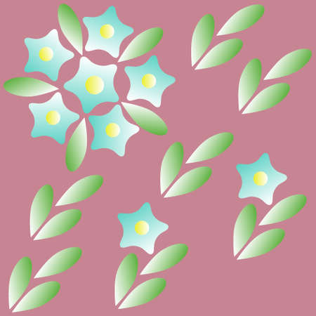 Abstract illustration of blue flowers with leaves on a burgundy background for textiles. Gradient color from white to blue and from white to green, a fragment for the pattern