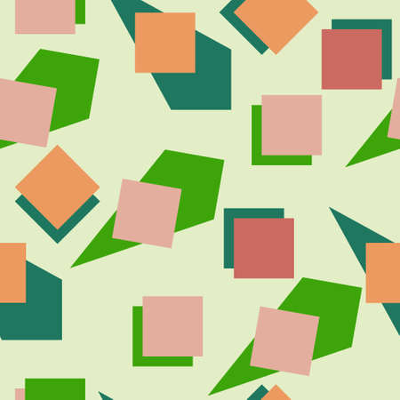Abstract illustration of flat quadrangles of different colors on a light background for textiles. Seamless pattern. Geometric shapes of red and green shades on a light green background for wallpaper.
