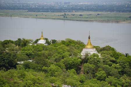 Nature landscape, Top View Pagoda in Sagaing City is near Mandalay City, Myanmar