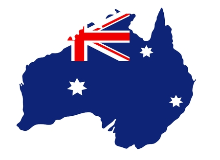 Australian flag on the background of the map  イラスト・ベクター素材