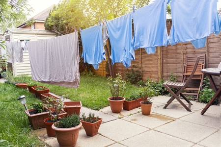 Drying the laundry, Cloths are hanging on clothesline