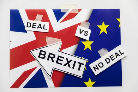Brexit or Not to Brexit Deal or No Deal. Brexit Flags of European Union and Great Britain with Question Mark about Deal or NO Deal, UK VS EU Concept Ideas 스톡 콘텐츠