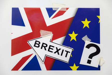 Brexit One Big Question Mark, British And European Union Flag Pair, Brexit Arrow sign and Question Mark as Concept Ideas. UK leaving EU