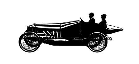 Vector silhouette of two men in a vintage racing car Illustration