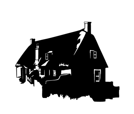 english countryside: Vector silhouette of a vintage English rural house
