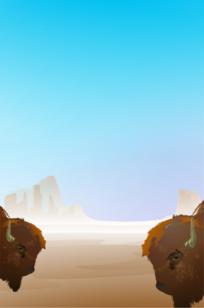Background illustration with desert landscape and heads of two buffalo