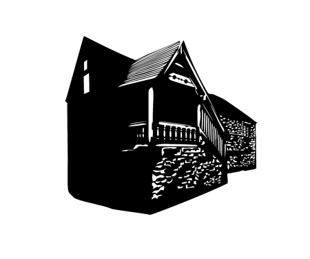 Vector silhouette of a vintage English village house Ilustrace