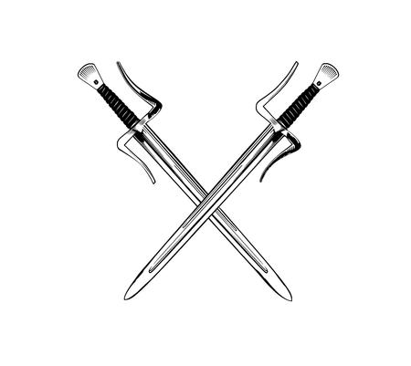 Vector illustration with two short medieval swords on black background, both for print and web Ilustração