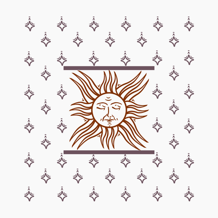 Vector vintage cover illustration with sun and stars, square-shaped, both for print and web