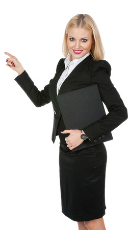 Pretty business woman on a white background photo