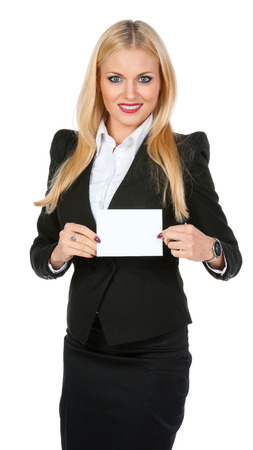Pretty girl shows a blank white card  photo