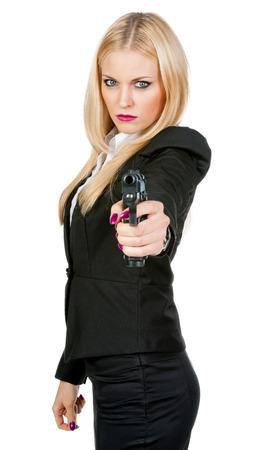 手で銃を持つセクシーな女の子