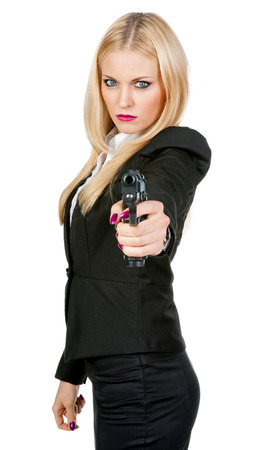 Sexy girl with gun in hand 版權商用圖片