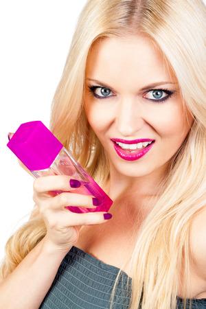 Beautiful woman with perfume photo