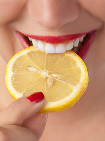 Slice a lemon in the mouth