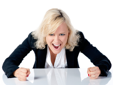 exasperation: Young business woman Stock Photo