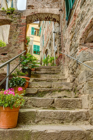 liguria: Alley in Italian old town Liguria Italy
