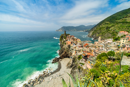 Old town on the rocks Liguria Italy