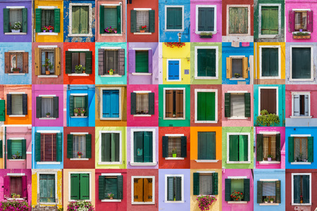 venice italy: Abstract colorful windows on the island of Burano Venice Italy