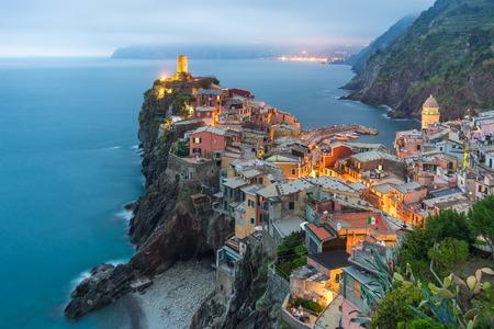 illuminated: Illuminated at night the town on the rocks Liguria Italy
