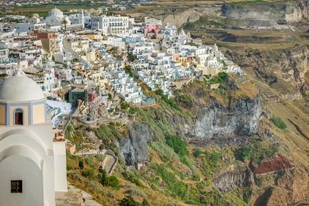 fira: Landscape Fira town Santorini Island Greece Editorial