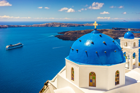 Landscape Santorini Island, Cyclades, Greece Stock Photo