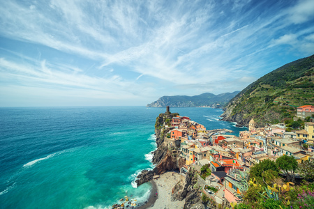 Colorful town on the rocks, Landscape Italy