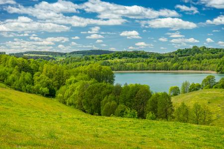春の風景、湖、緑の中で 写真素材