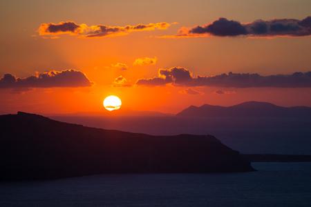 日没, キクラデス諸島, ギリシャ 写真素材