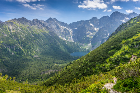 タトラ山脈の景色、証明 Morskie Oko 写真素材