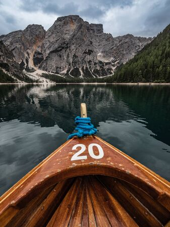 Lago di Braies (Pragser Wildsee) is famous for its crystal clear water, wooden boats and beautiful mountains that surround it. South Tyrol, Italy