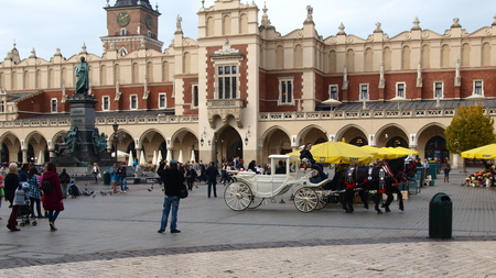 main market: Poland, Krakow, Oct 2014. Main Market Square, the Cloth Hall