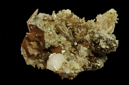 calcite: Quartz, calcite, pyrite (207).  Origin:  Trepca, Serbia.  Andrzej Kuzma collection.