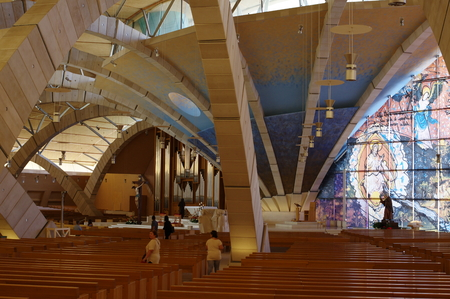 rotondo: San Giovanni Rotondo, Italy - September 08, 2015: inside Padre Pio Pilgrimage Church. The church built in 1993 near the old monastery and the Basilica. Inside you can see the arch supports vaults, stained glass, statue of Padre Pio church organ as well as