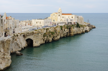 st  francis: Vieste, Italy - September 09, 2015: center of the historic town on the Gargano Peninsula in the province of Foggia. In the image are visible medieval town center with the church of St. Francis on the promontory. Editorial