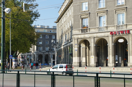 ronald reagan: Krakow, Poland October 08, 2015: Nowa Huta, former worker - communist district of Krakow. Central Square Central Square named Ronald Reagan. Stalinist architecture.
