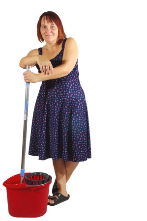 housekeeper: Housekeeper cleans the floor. Woman washes the floor with a mop. On a white background, isolated.